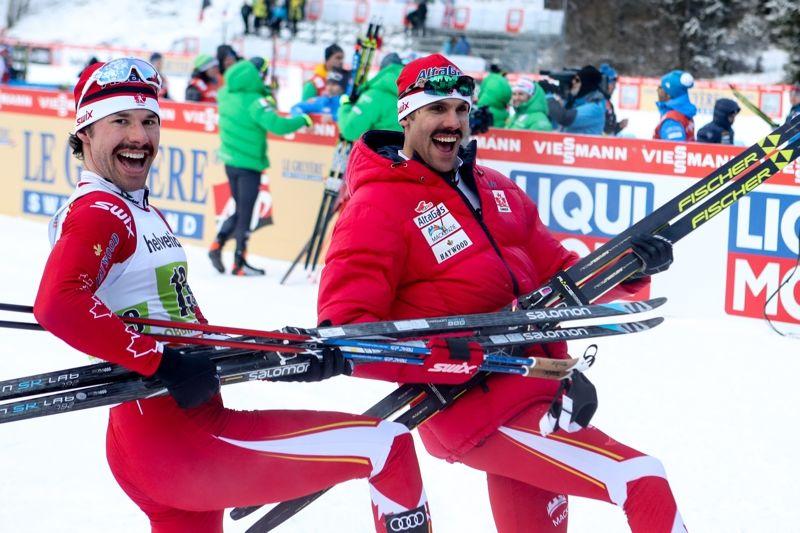 Alex Harvey och Len Valjas kunde inte bara glädja sig åt segern vid teamsprinten i Toblach idag. Nu får de åka världscupavslutningen på hemmaplan i Kanada. FOTO: GEPA pictures/ Matic Klansek © Bildbyrån.