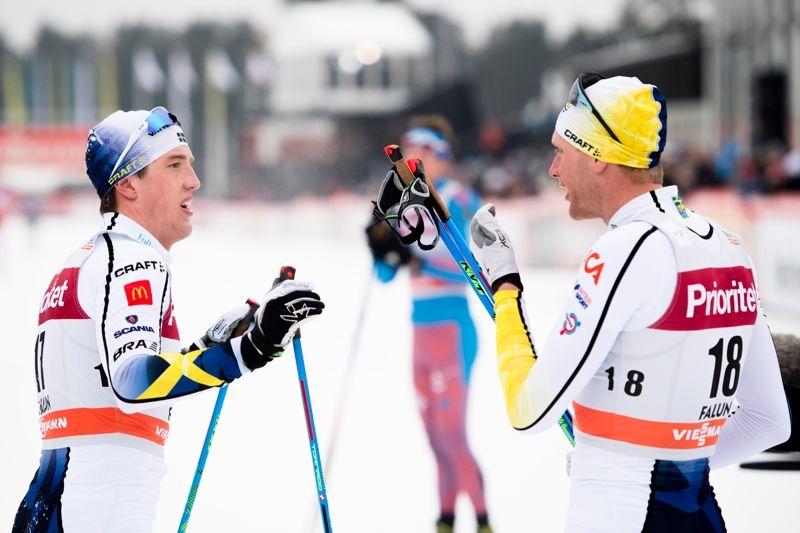Calle Halfvarsson och Daniel Richardsson är på väg mot VM-form. Duon blev trea och sjua på tremilen i Falun idag. FOTO: Carl Sandin/Bildbyrån.