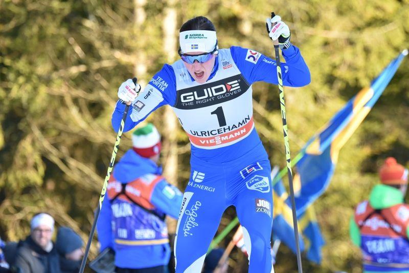 Linn Sömskar vann 3,5 sekunder före Jennie Öberg vid Intersport Cup i Skellefteå. FOTO: Rolf Zetterberg.
