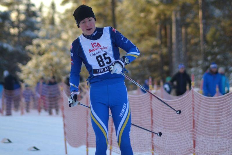 Nils Bergström, Domnarvets GoIF åkte snabbast i H 15 på dagens USM-tävlingar i Borås. FOTO: Johan Trygg/Längd.se.