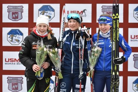 D 15-pallen: Mårta Rosenberg, Elina Franzén och Saga Fältenhag. FOTO: Rolf Zetterberg.