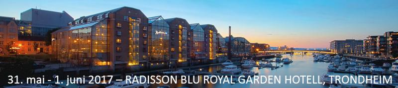 Kveldsbilde av Royal Garden hotell i Trondheim