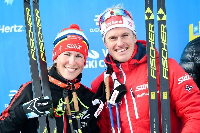 Katerina Smutná och Morten Eide Pedersen tog hem Jizerska Padesatka i Tjeckien. FOTO: Magnus Östh.