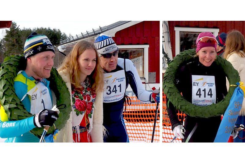 Herrsegraren i Skinnarloppet Bill Impola, kranskullan Ida Eriksson, tvåan Peo Svanh samt damsegraren Ulrica Persson. FOTO: Isabell Ehnlund.