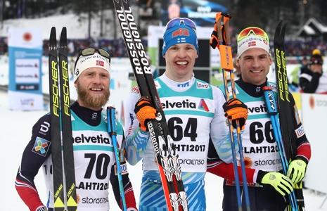 Medaljtrion Sundby, Niskanen och Dyrhaug. FOTO: GEPA pictures/Christopher Kelemen © Bildbyrån.