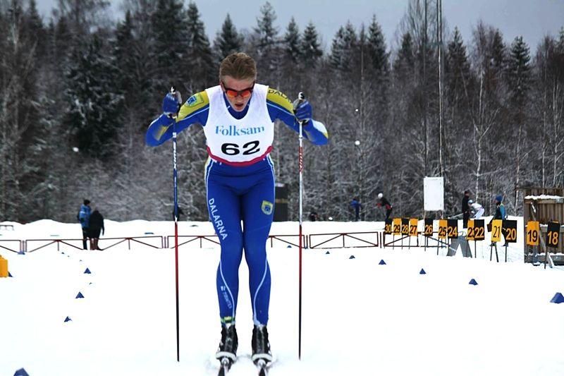 Dalarna vann riksfinalen av Folksam cup. Här en av dalaåkarna, IFK Hedemoras Edvin Anger. FOTO: Elin Värmsjö.