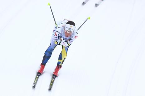Charlotte Kalla slutade femma efter en stark kämpainsats. FOTO: GEPA pictures/Philipp Brem © Bildbyrån.