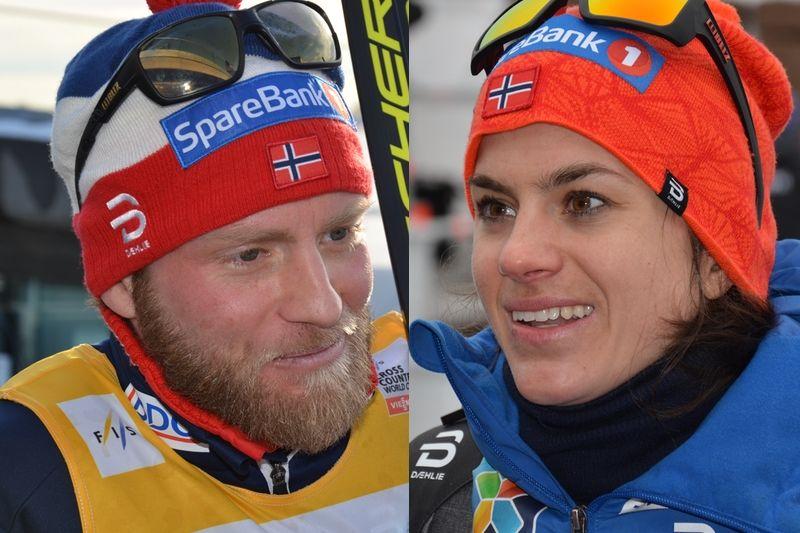 Martin Johnsrud Sundby och Heidi Weng tog hem totala världscupen 2016-2017. Båda två vann även distanscupen. Fotomontage. FOTO: Rolf Zetterberg.