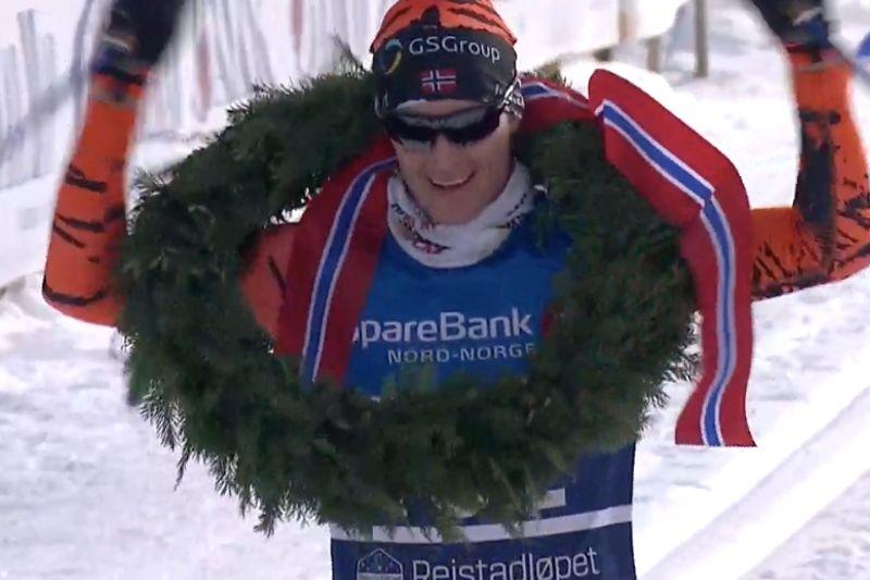 Petter Eliassen var omutlig under tuffa Reistadlöpet i nord-Norge. FOTO: Från SVT:s sändning.