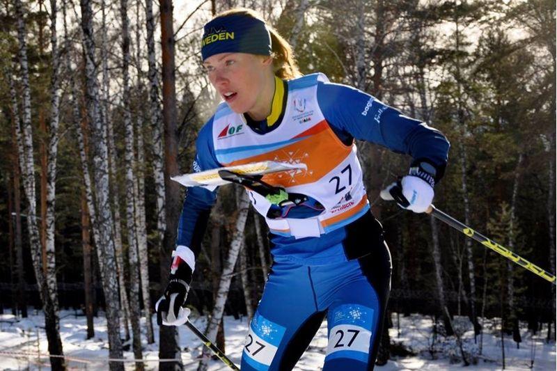 Tove Alexandersson ser fram emot VM i skidorientering i Piteå i mars 2019. Här är Tove under vinterns VM i Ryssland där hon tog tre guldmedaljer. FOTO: Nordenmark Adventure.