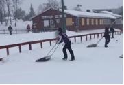 Upploppet fick skottas på grund av all nyfallen snö. FOTO: Kirunaspelen.