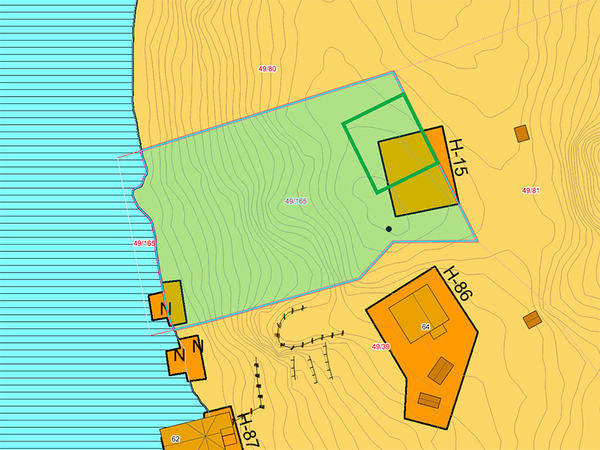 Kart over del av Kjeøya