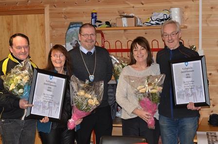 F.v. Eskild Pedersen, Eva P. Pedersen, ordfører Lars Evjenth, Eva Lund Pedersen og Erling Pedersen
