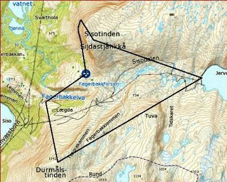 Kart med jaktområde markert