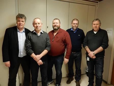 F.v. Jan-Folke Sandnes, Rune Berg, Håkon Sæther, Lars Kr. Evjenth og Jørn Stene