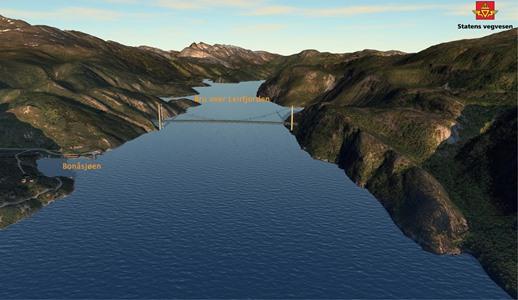 Ny E6 planlegges med bru over Leirfjorden