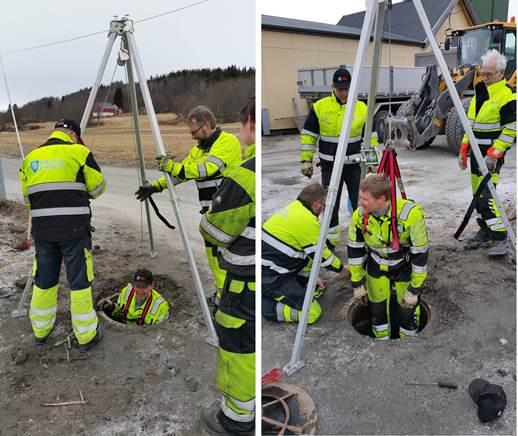Øvelse i evakuering fra kum