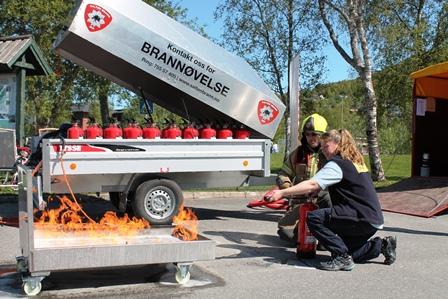 Demonstrasjon av brannslokking