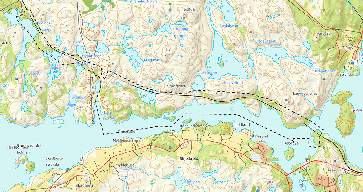 Kart over Hellviksveien