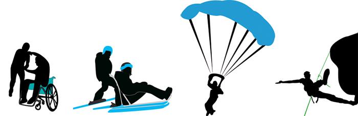 Collagesom viser fire idretter fjellklatring, fallskjermhopping, rullestoldans og sitski