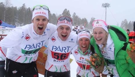 Jesper Modin, Martin Bergström, Jenny Öberg, Charlotte Kalla tog SM-guld i team sprint när Piteå Elit vann både dam- och herrklassen 2015.