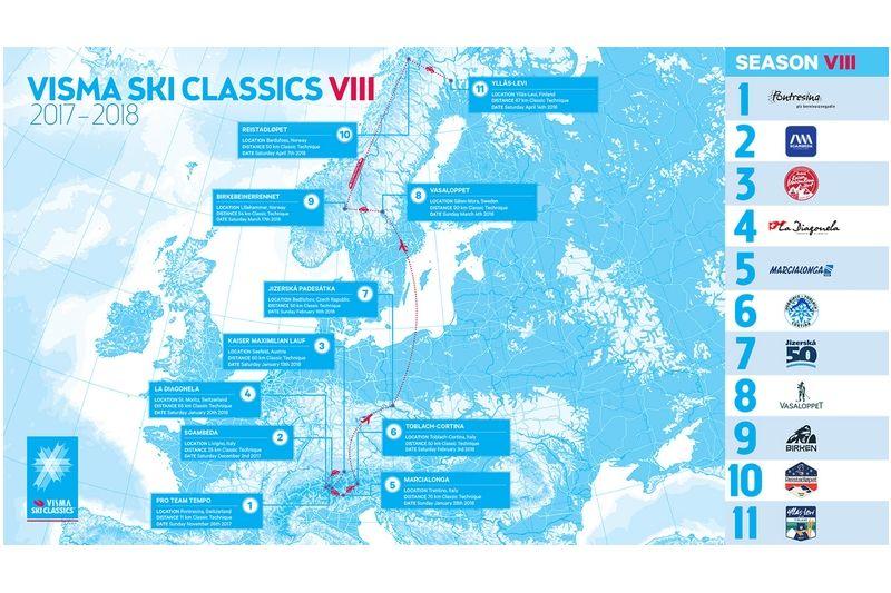 Visma Ski Classics-säsongen 2017/2018 sträcker sig över nästan fem månader.