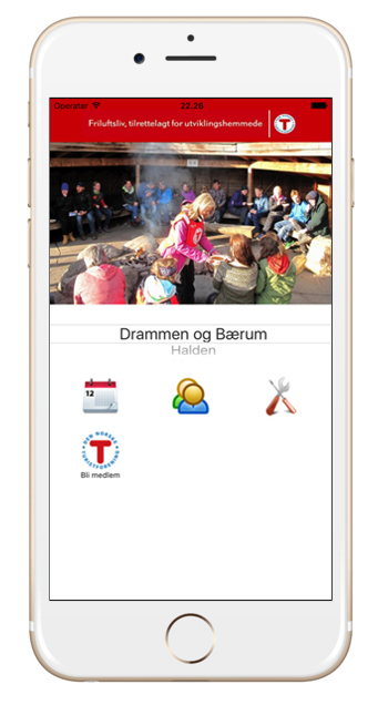 Bilde av mobiltelefon som viser appen til DNT