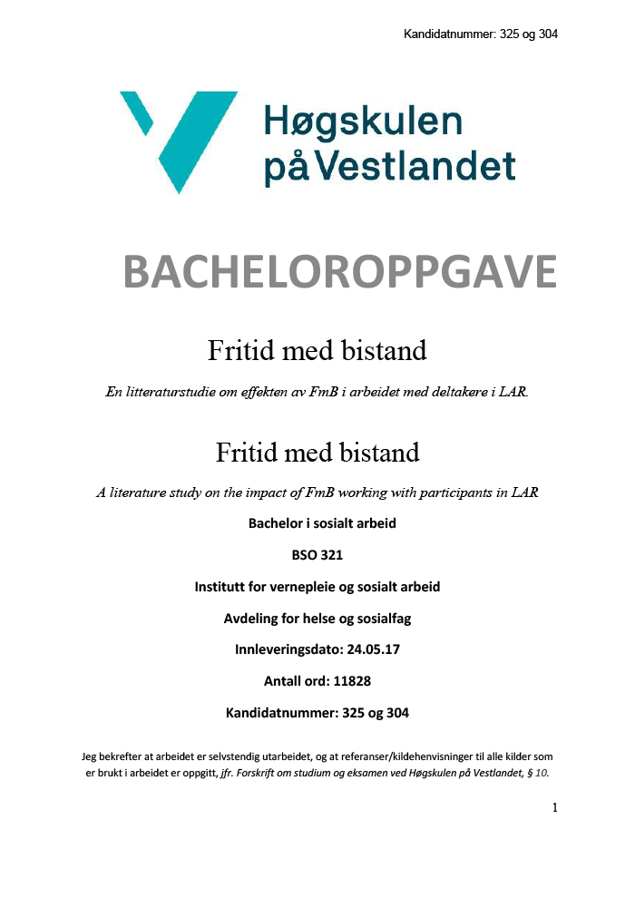 Omslag til bacheloroppgave