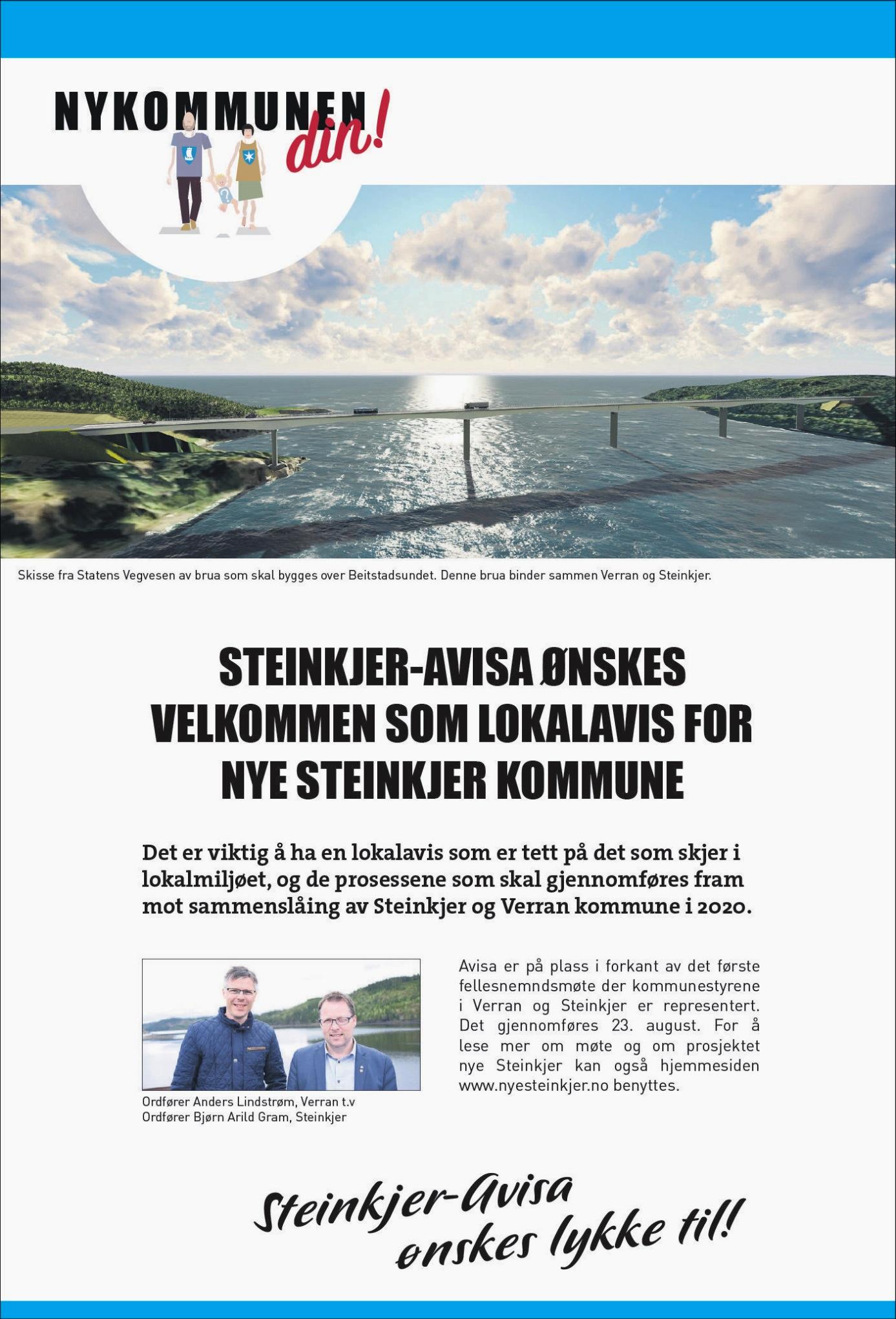 Annonsetekst om ny Steinkjer-Avis