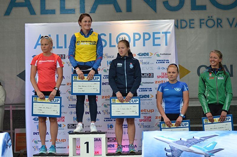 Topp fem i D 21 på STS Roll cup: Sandra Olsson (2:a), Helene Söderlund (1:a), Lisa K Svensson (3:a), Julia Angelsiöö (4:a) och Malin Börjesjö (5:a). FOTO: Johan Trygg/Längd.se.
