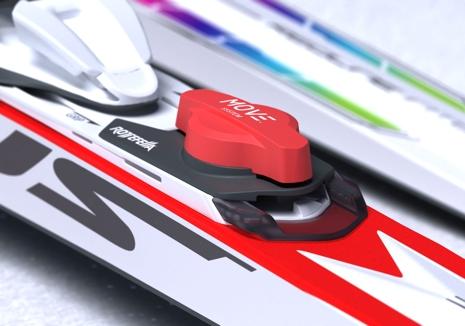 En närbild på mekanismen som gör att man kan flytta bindningen i farten. FOTO: Madshus/Rottefella.