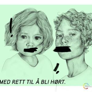 Illustrasjon som viser en tegning av to barn som har fått munnen malt over med svart