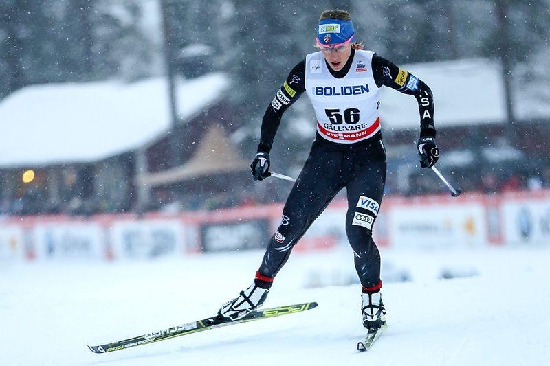 Bronsmedaljören från sprinten Lahtis-VM, Kikkan Randall, kommer till Gällivarepremiären och utmanar Stina Nilsson och Hanna Falk och de andra svenska tjejerna. FOTO: Yngve Johansson, Imega Promotion.