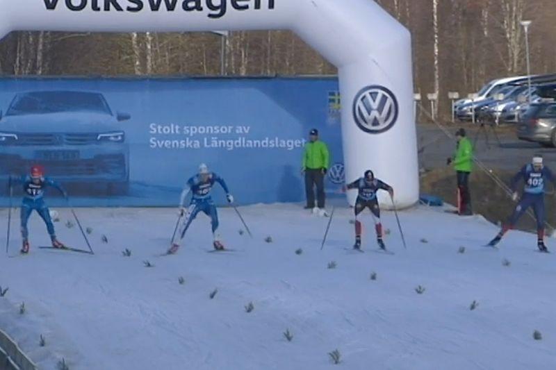 Herrarnas finalfält på supersprinten i Östersund. Från vänster: Karl-Johan Dyvik som blev trea, tvåan Marcus Grate, ettan Ludvig Sögnen Jensen och fyran Sigurd Reigstad Bråthen. FOTO: Från SVT:s sändning.