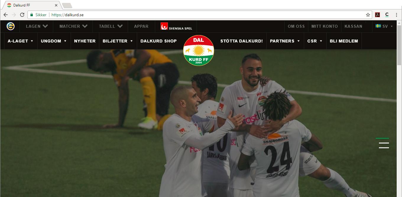 Skjermdump av hjemmesiden til Dalkurd FF