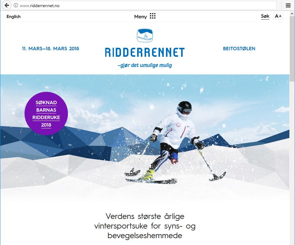 Skjermdump av forsiden til nettsiden til Ridderrennet