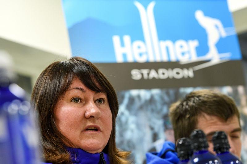 Jelena Välbe, ordförande i ryska skidförbundet, under en presskonferens på torsdagen inför Gällivarepremiären. FOTO: Carl Sandin/Bildbyrån.