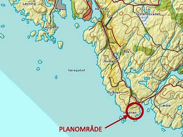 Kart som viser hvor Stapnes ligger