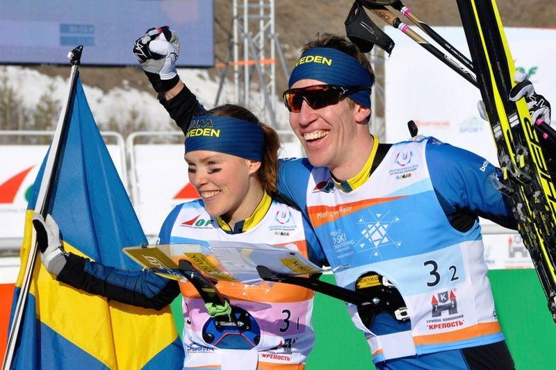 Tove Alexandersson och Erik Rost vann guld vid sprintstafetten på EM i skidorientering i Bulgarien. Bilden dock från VM i fjol. FOTO: Nordenmark Adventure.