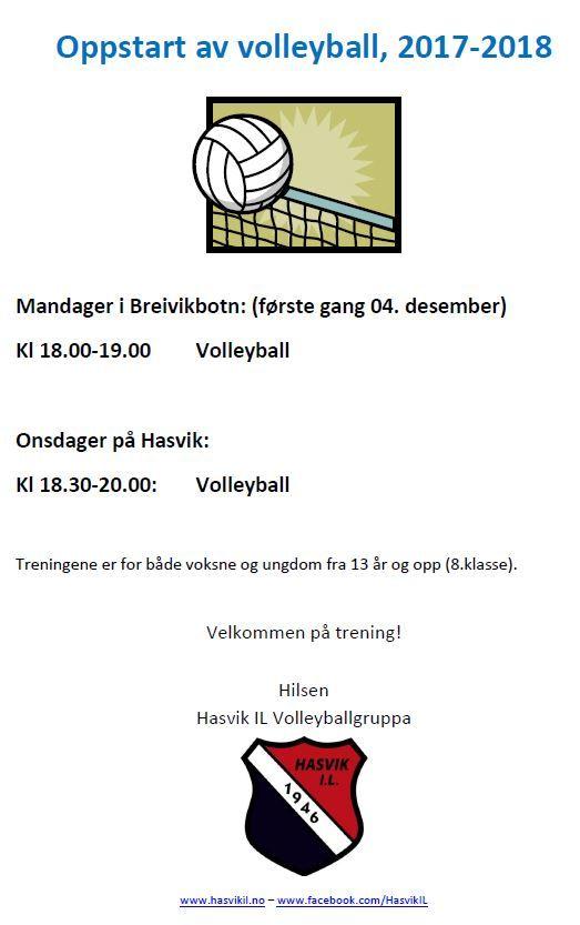 Volleyballtrening i regi av Hasvik Idrettslag