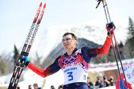Alexander Legkov efter femmilen vid OS i Sotji. Nu är han och fem andra ryska åkare avstängda från världscupen tills vidare. FOTO: Carl Sandin/Bildbyrån.