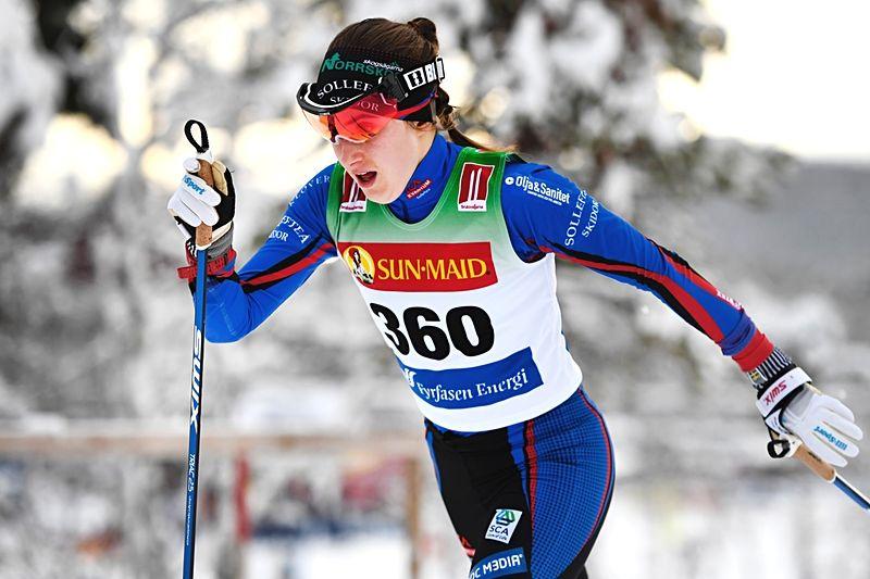 Ebba Andersson gjorde idag comeback efter skada och vann knappt före Maria Nordström. FOTO: Carl Sandin/Bildbyrån.