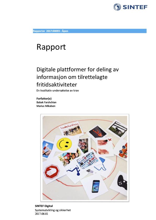 Forsiden til Sintef-rapport - Digitale plattformer for deling av informasjon om tilrettelagte fritidsaktiviteter