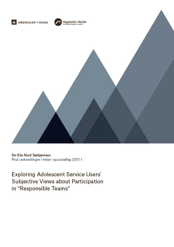 Omslagsbilde til Doktorgradsavhandling Exploring adolescent service users' subjective views about participation in \