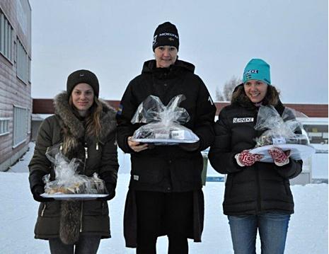 Dampallen: Lina Korsgren tvåa, Britta Johansson Norgren, etta och Sara Lindborg, trea. FOTO: Östersunds SK.