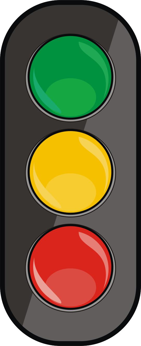 Trafikklys grønt, gult, rødt