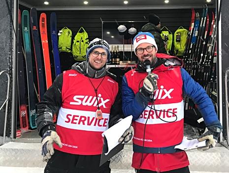 Glad arrangörsduo: Gustaf Berglund och Jesper Johnsson. FOTO: Åre Swix Open.