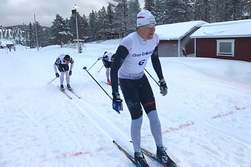 Rikard Tynell hade smält julmaten bra och spurtvann Grönklitts Julmarathon före Oscar Person och Jimmie Johnsson. FOTO: Marcus Laggar.