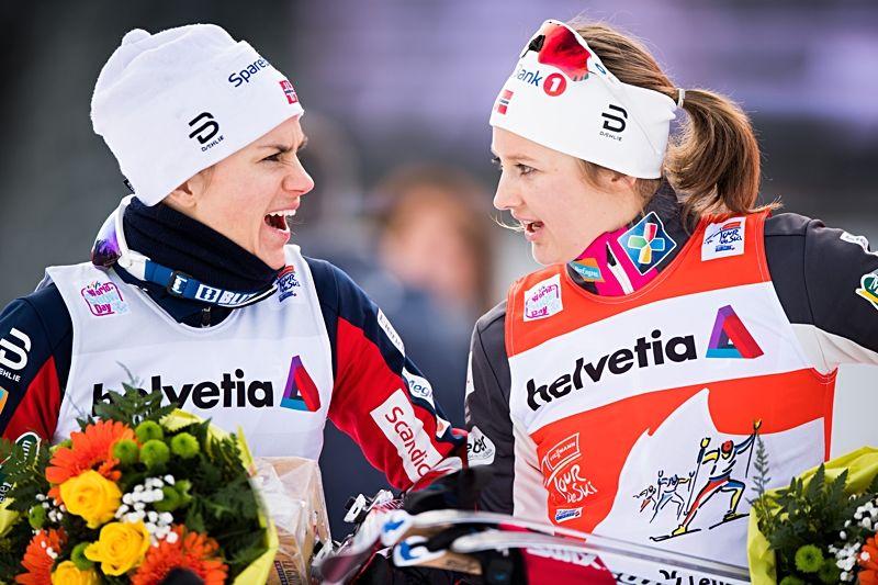 Heidi Weng och Ingvild Flugstad Östberg fortsätter att dominera i Tour de Ski. FOTO: Jon Olav Nesvold/Bildbyrån.