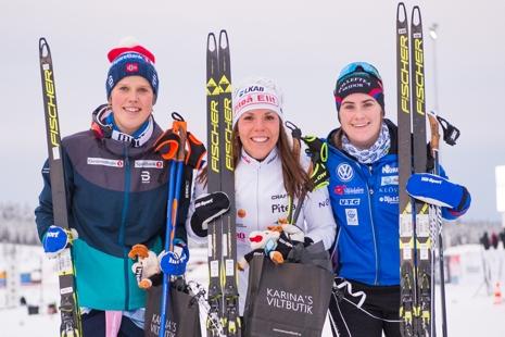 Dampallen: Kari Öyre Slind, Charlotte Kalla och Ebba Andersson. FOTO: Simon Eliasson/Bildbyrån.